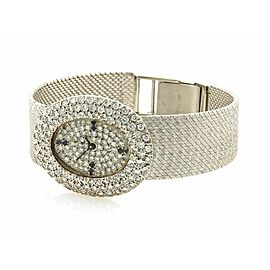 Estate 2.00ct Pave Diamond Face & Dial Ladies 14k White Gold Watch