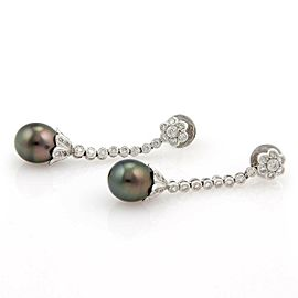 Estate Diamond Tahitian Oval Pearl 18k White Gold Floral Dangle Earrings
