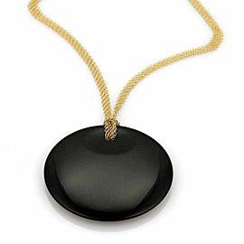 "Tiffany & Co. Peretti Round Black Jade Pendant 18k Gold 30"" Mesh Necklace"