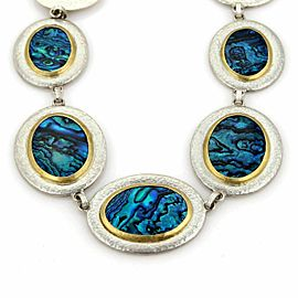 Gurhan Surf Paua Shell Sterling & 24k Gold Discs Necklace