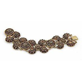"Antique 14k Yellow Gold & Garnet 2"" Wide Fancy Floral Chain Bracelet"