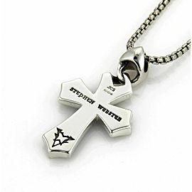 Stephen Webster RAYMAN Sterling Onyx Cross Pendant & Box Chain Rt. $550