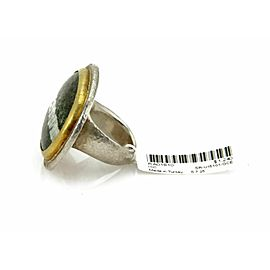 Gurhan Green Chrysotile Sterling 24k Layered Gold Large Ring Rt. 1,240
