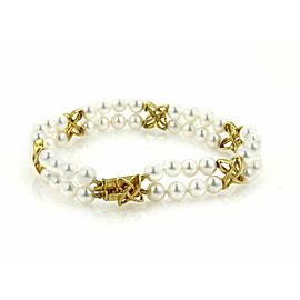 Mikimoto Akoya 5mm Pearls 18k Yellow Gold Double Strand Bracelet