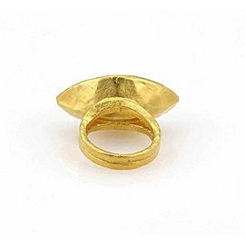 GURHAN PANDORA SOLID 24K GOLD MARQUISE SHAPE AQUA CHALCEDONY RING