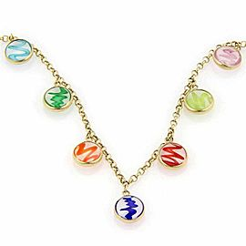 Italian Multi Colored Morano Glass Dangle 14k Yellow Gold Necklace