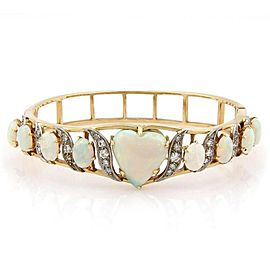 Estate Large Center Heart Shaped Opal & Diamond Bangle Bracelet in 14k Gold