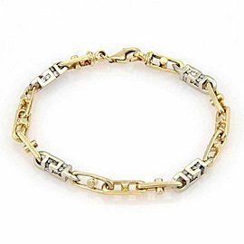 Estate Diamond 3D Box Link 14k Two Tone Gold Bracelet