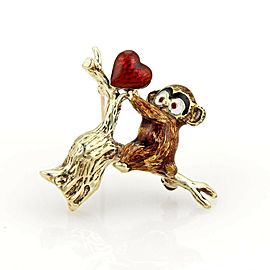 Enamel 14k Gold Baby Koala Bear In Tree & Heart Brooch