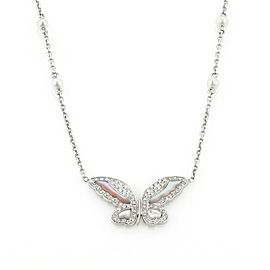 Victoria Casal Diamonds Pearls 18k White Gold Butterfly Pendant