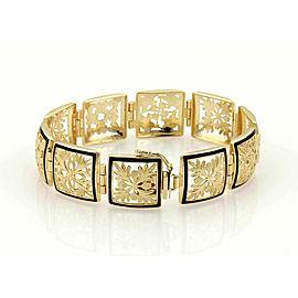 """Enamel Open Floral Leaf Design 14k Yellow Gold Square Link Bracelet 6.5"""""""