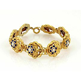 Estate Blue Enamel & Seed Pearl Rose 14k Yellow Gold Link Bracelet
