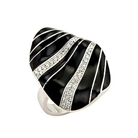 Roberto Coin Vintage Diamonds & Enamel Concave 18k White Gold Ring