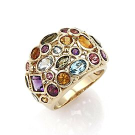 Estate Multicolor Gemstone 14k Yellow Gold 17mm Wide Dome Band Ring