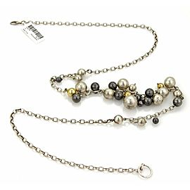 Gurhan White & Dark Sterling 24k Gold Assorted Size Ball Necklace
