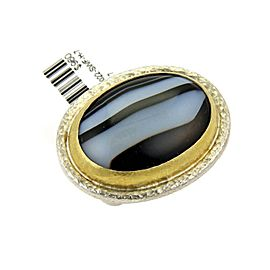 Gurhan Black & White Stripe Agate Gem Sterling 24k Gold Ring