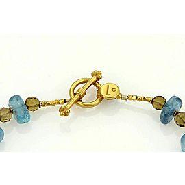 Laura Gibson 22k Gold & Multi-Color Beaded Cluster Gemstone Toggle Bracelet