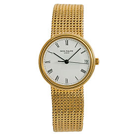 Patek Philippe Calatrava 3802 Mens Automatic Watch White Dial 18K Gold 33mm