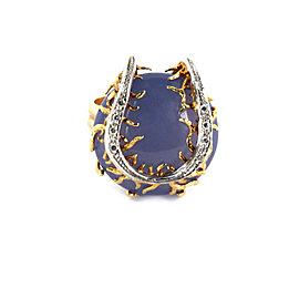 Estate Diamond Chalcedony 14k Two Tone Gold Horseshoe Design Ring