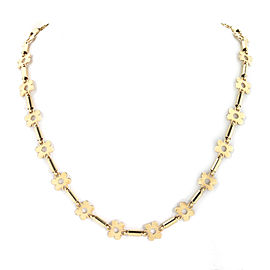 Flower & Tube 14k Yellow Gold All Around Link Necklace