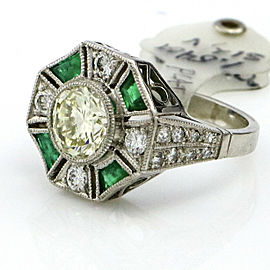 1.54 Carat Platinum Emerald Diamond Art Deco Engagement Ring
