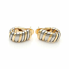 Bvlgari Bulgari Tubogas 18k Yellow Gold & Steel Oval Hoop Earrings