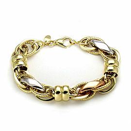 Assorted Shape Fancy 14k Tri-Color Gold Woven Link Bracelet Italy