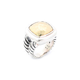David Yurman Sterling & 18k Gold Faceted Albion Ring Size 4.5