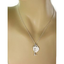 Tiffany & Co. Sterling Silver Classic Heart & Key Pendant Necklace
