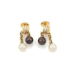 Cartier Trinity Cultured Black & White Pearls 18k Yellow Gold Earrings