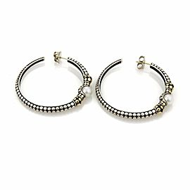 John Hardy Dots Pearls Sterling & 18k Yellow Gold Large Hoop Earrings
