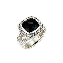 David Yurman Albion Diamond Onyx & Sterling Silver 11mm Ring Size 7