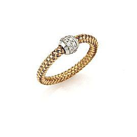 Roberto Coin Primavera Diamond 18k Rose & White Gold Band Ring Size 6.75