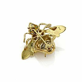 Estate Diamonds & Emerald Bee 18k Gold Pin Brooch