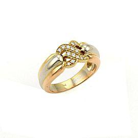 Cartier C de Cartier Diamonds Tri-Color Gold Double C Ring Size 6