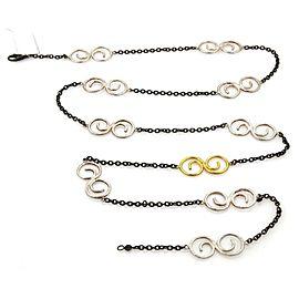 Gurhan Vortex Dark & White Sterling & 24k Gold Spiral Link Chain Necklace