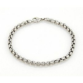 Tiffany & Co. 18k White Gold Curved Box Link Chain Bracelet
