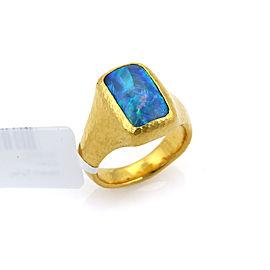 Gurhan Paradiso 24k Gold & Opal Rectangular Cocktail Ring Size 7.5