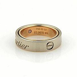 Cartier Astro Secret Love 18k Rose & White Gold 5.5mm Band Ring Size 6