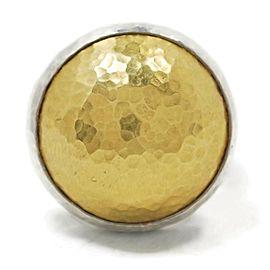 Gurhan Amulet Sterling & 24k Gold Hammered Dome Ring Size 6.25