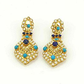 Estate 22k Gold Turquoise Lapis & Seed Pearls Mughal Drop Dangle Earrings