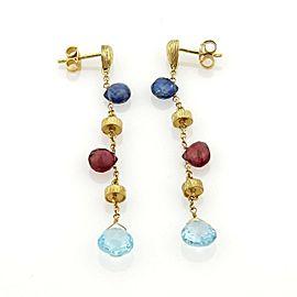 Estate Sapphire Topaz & Garnet 18k Yellow Gold Drop Dangle Earrings