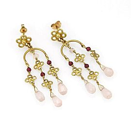 Estate 18k Yellow Gold Multi Color Gems Briolette Chandelier Earrings