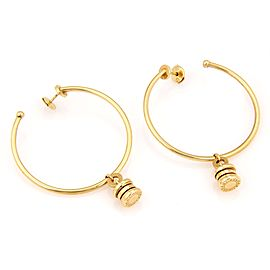 Bulgari B.zero1 Large Hoop Dangle Charm 18k Gold Earrings