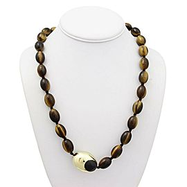 Tiffany & Co. 18k Yellow Gold tiger's eye beaded Necklace