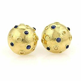 Tiffany & Co. Cabochon Sapphire Half Dome Stud 14k Gold Earrings