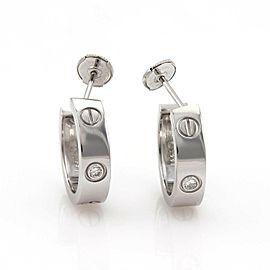 Cartier Love Diamond 18k White Gold 5.5mm Wide Hoop Earrings