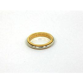 Tiffany & Co Platinum 18k Gold 4mm Double Milgrain Dome Band Ring Size 5.5