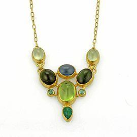 Gurhan 24k Gold Watermelon Tourmaline Emerald & Peridot Necklace