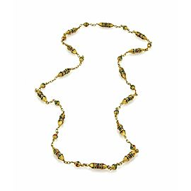 Multicolor Enamel Fancy Column & Chain Link 18k Yellow Gold Necklace